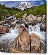Mount Rainier Glacial Flow Acrylic Print by Adam Romanowicz
