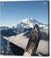 Mount Rainier Has Skis Acrylic Print by Kym Backland