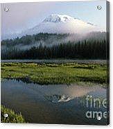 Mount Rainier Shrouded In Fog Acrylic Print