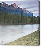Mount Rundle And The Bow River At Sunrise Acrylic Print