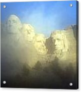 Mount Rushmore National Memorial Through The Fog  Acrylic Print