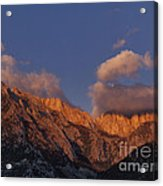 Mount Whitney In Clouds Alabama Hills Eastern Sierras California  Acrylic Print