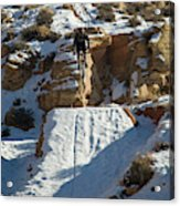 Mountain Biker Jumping With Snowy Acrylic Print