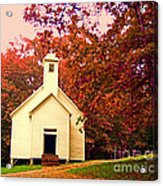 Mountain Church In Fall Acrylic Print