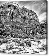 Mountain In Winter - Bw Acrylic Print