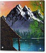 Mountain Lake Cabin W Eagles Acrylic Print