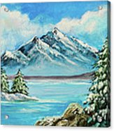 Mountain Lake In Winter Original Painting Forsale Acrylic Print