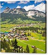 Mountain Landscape With Village In The Allgaeu Alps Austria Acrylic Print
