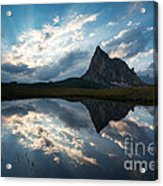 Mountain Peak And Clouds Reflected In Alpine Lake In The Dolomit Acrylic Print