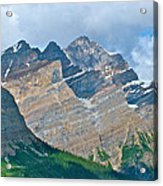 Mountain Peaks From Bow Summit Along Icefield Parkway In Alberta Acrylic Print