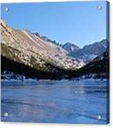 Mountain Reflection On Frozen Lake Acrylic Print