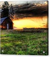 Mountain Sun Behind Barn Acrylic Print