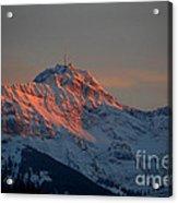 Mountain Sunset In Switzerland Acrylic Print