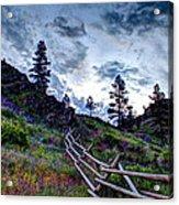 Mountain Wooden Fence  Acrylic Print