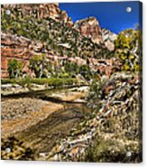 Mountains And Virgin River - Zion Acrylic Print