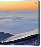 Mountains Clouds At Sunset Acrylic Print