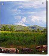 Mountains Corn And Blue Skies Acrylic Print