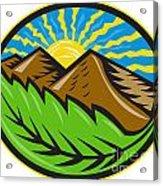 Mountains Leaf Sunburst Retro Acrylic Print