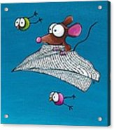 Mouse In His Paper Aeroplane Acrylic Print