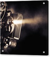 Movie Projector On A Dark Background Acrylic Print