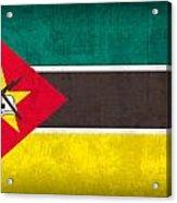 Mozambique Flag Vintage Distressed Finish Acrylic Print
