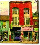 Mr Jordan Mediterranean Food Cafe Cabbagetown Restaurants Toronto Street Scene Paintings C Spandau Acrylic Print by Carole Spandau