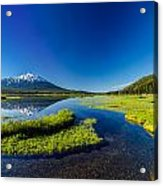 Mt. Bachelor Reflection And Forest Acrylic Print
