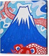 Mt. Fuji And A Red Dragon Acrylic Print
