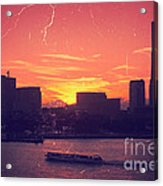 Mt Fuji At Sunset Over Yokohama Bay Acrylic Print by Beverly Claire Kaiya