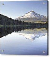 Mt Hood Reflection On Trillium Lake Panorama Acrylic Print