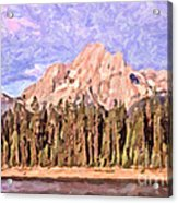 Mt Moran From Colter Bay Acrylic Print