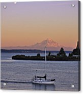 Mt. Rainier Afterglow Acrylic Print by Adam Romanowicz