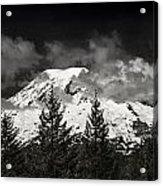 Mt Rainier Panorama B W Acrylic Print