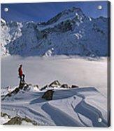 Mt Sefton Climber At Mueller Glacier Acrylic Print