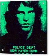 Mugshot Jim Morrison P128 Acrylic Print by Wingsdomain Art and Photography