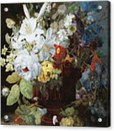 Multi-colored Flower Bouquet In Brown Vase C1784 Acrylic Print