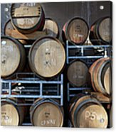 Multible Wooden French Winebarrels On Acrylic Print