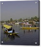 Multiple Number Of Shikaras On The Water Of The Dal Lake In Srinagar Acrylic Print