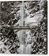 Multnoma Falls In Winter Acrylic Print
