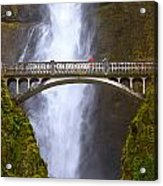 Multnomah Falls Bridge In Oregon Acrylic Print