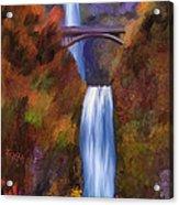 Multnomah Falls In Autumn Acrylic Print