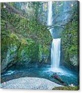 Multnomah Falls In Winter Acrylic Print