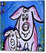 Mummy And Baby Pig  Acrylic Print