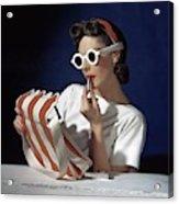 Muriel Maxel Applying Lipstick Acrylic Print