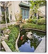 Museum Koi - Courtyard Of The Pacific Asia Museum In Pasadena. Acrylic Print