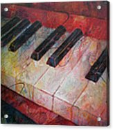 Music Is The Key - Painting Of A Keyboard Acrylic Print