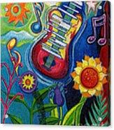 Music On Flowers Acrylic Print