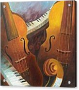 Music Relief Acrylic Print by Paula Marsh