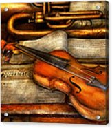 Music - Violin - Played It's Last Song  Acrylic Print by Mike Savad