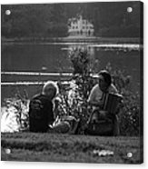 Musicians By The Pond Acrylic Print